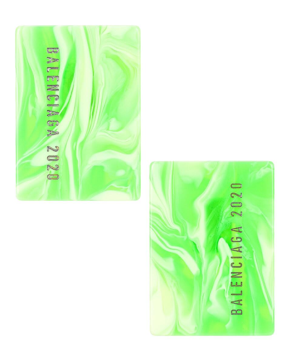 Image 1 of Balenciaga Plate Earrings in Silver & Fluo Green