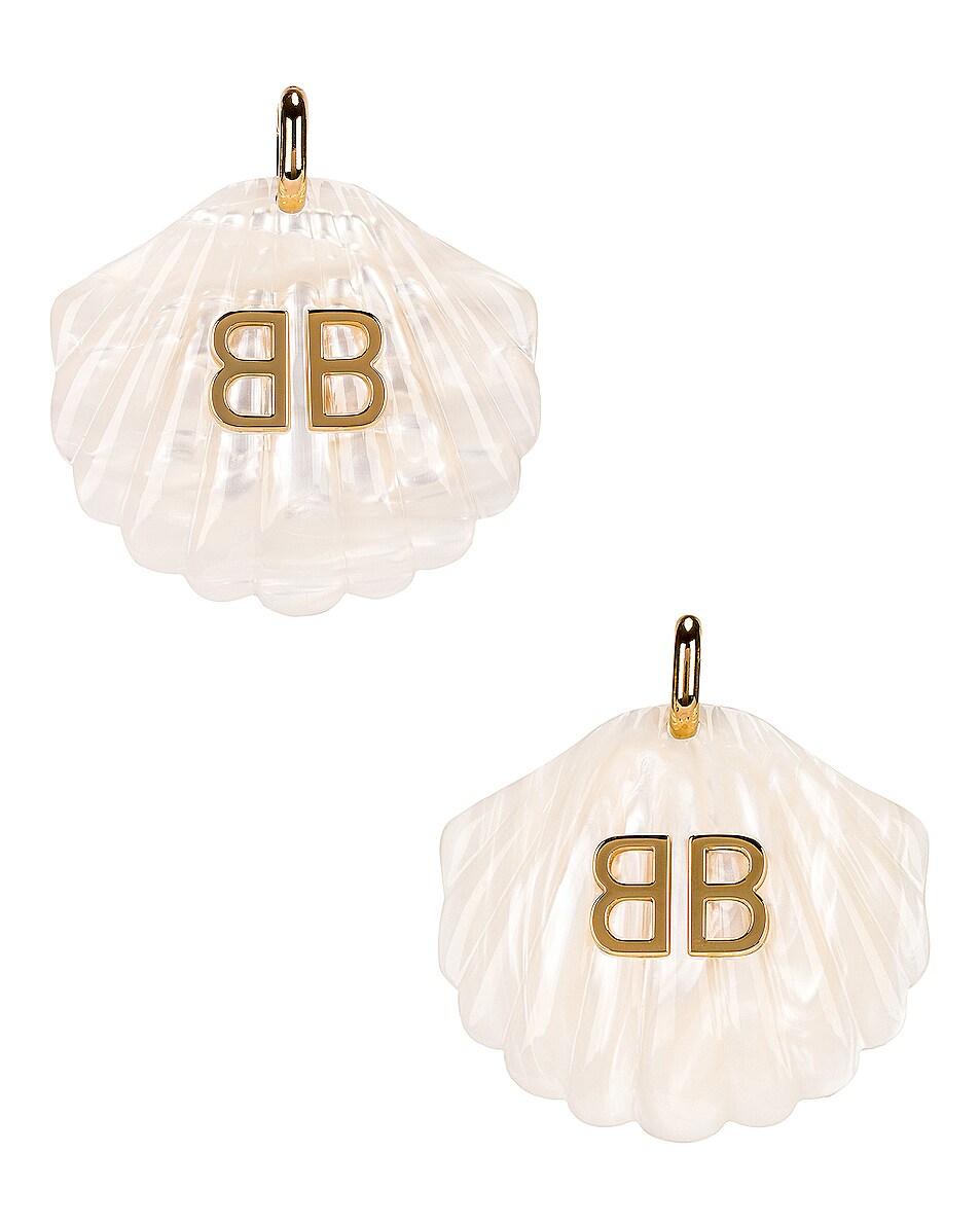 Image 1 of Balenciaga Mermaid Earrings in Marble White & Gold