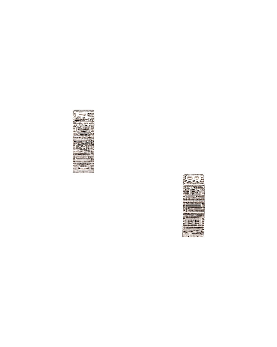 Image 1 of Balenciaga Force Striped Earrings in Shiny Silver