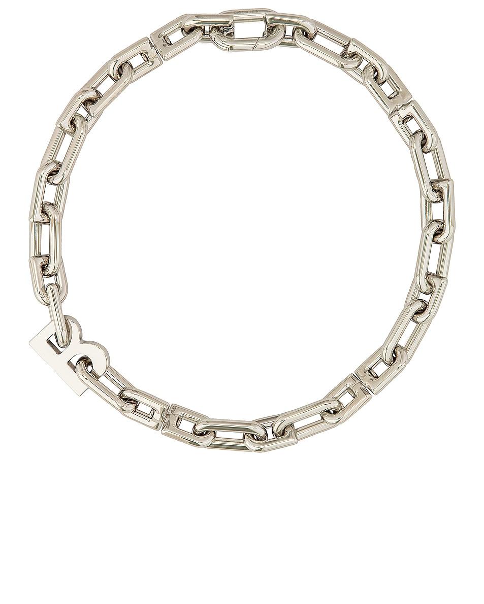 Image 1 of Balenciaga Thin B Chain Necklace in Shiny Silver