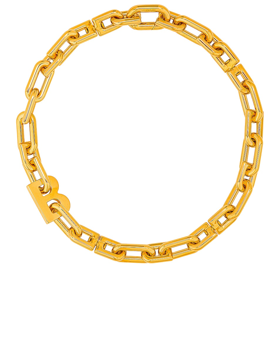 Image 1 of Balenciaga Thin B Chain Necklace in Shiny Gold