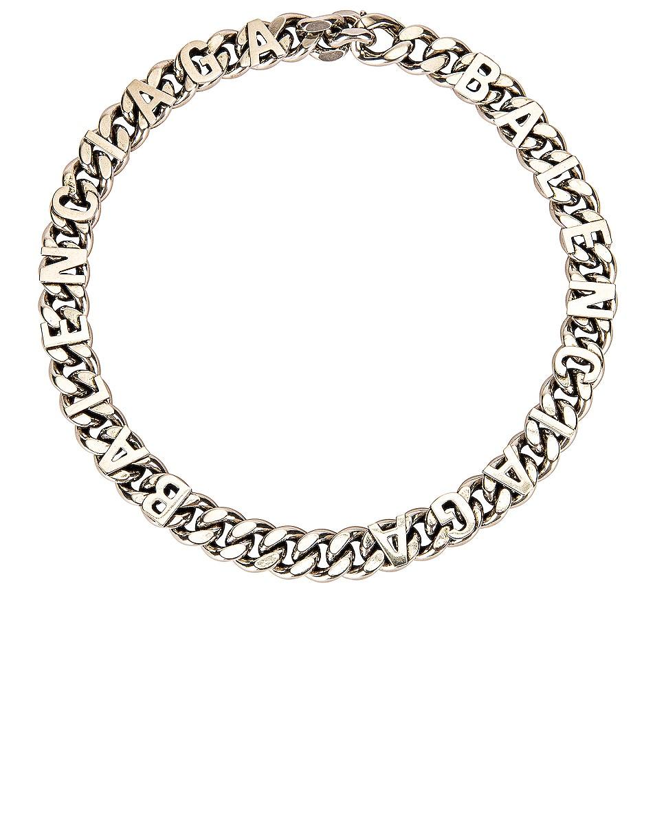 Image 1 of Balenciaga Logo Chain Necklace in Antique Silver