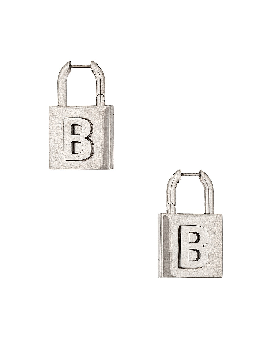 Image 1 of Balenciaga Lock Earrings in Antique Silver