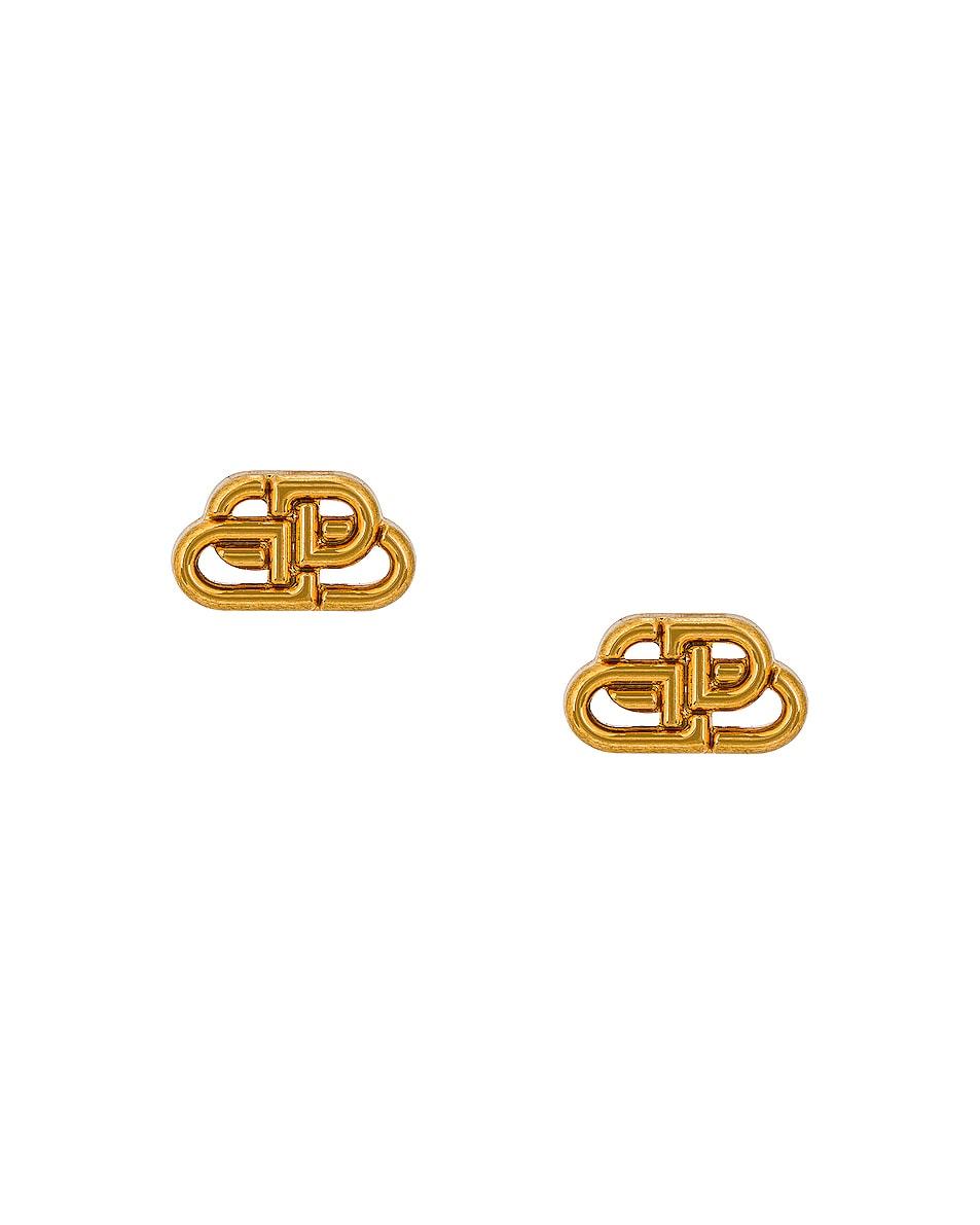 Image 1 of Balenciaga XS BB Stud Earrings in Gold