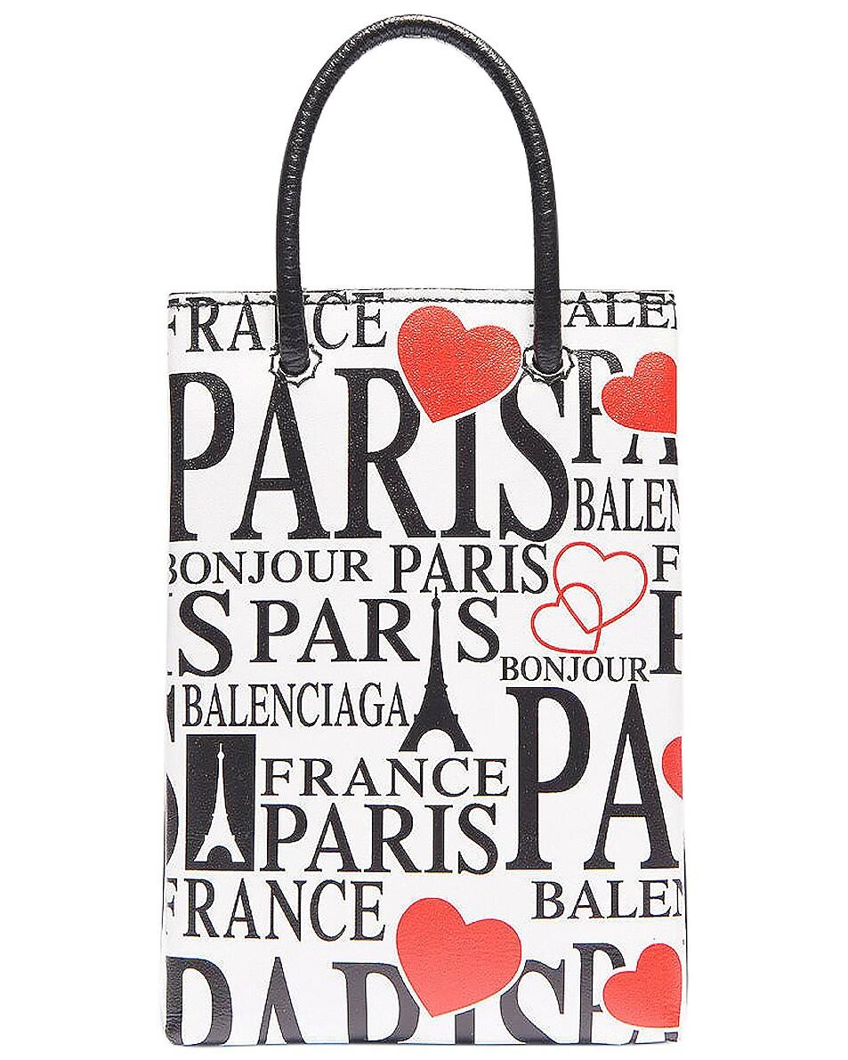 Image 1 of Balenciaga Paris Bonjour Shopping Phone on Strap Bag in White & Red