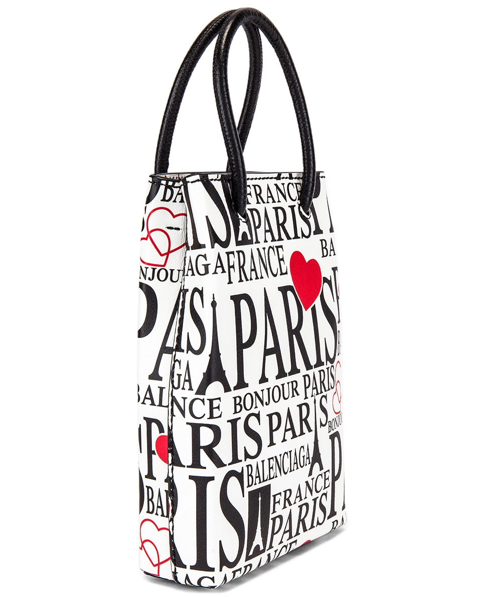 Image 4 of Balenciaga Paris Bonjour Shopping Phone on Strap Bag in White & Red