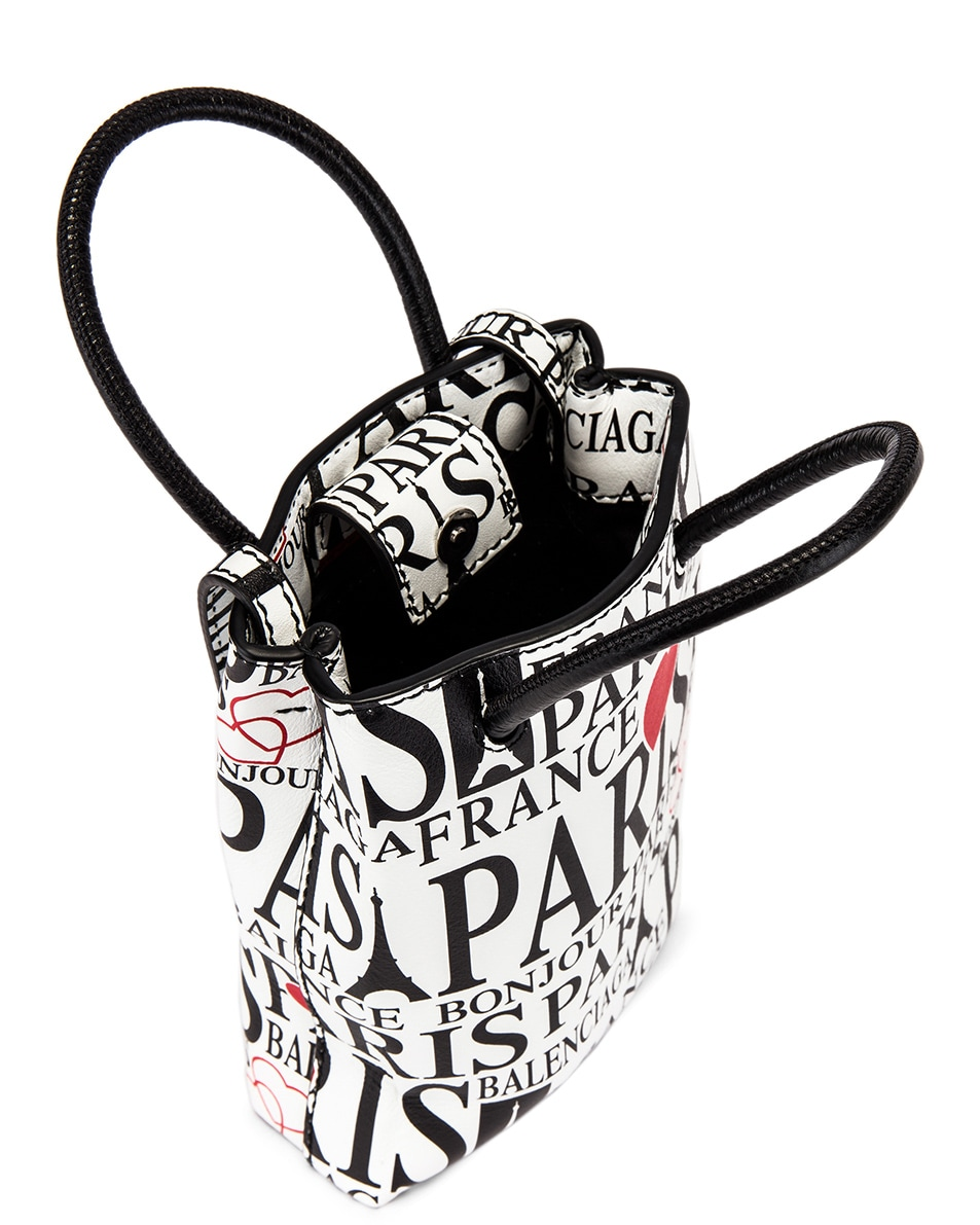 Image 5 of Balenciaga Paris Bonjour Shopping Phone on Strap Bag in White & Red