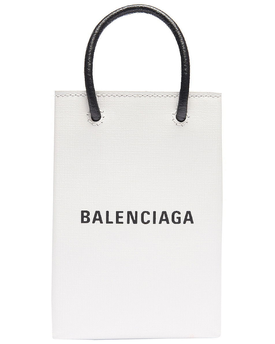 Image 1 of Balenciaga Shopping Phone on Strap Bag in White
