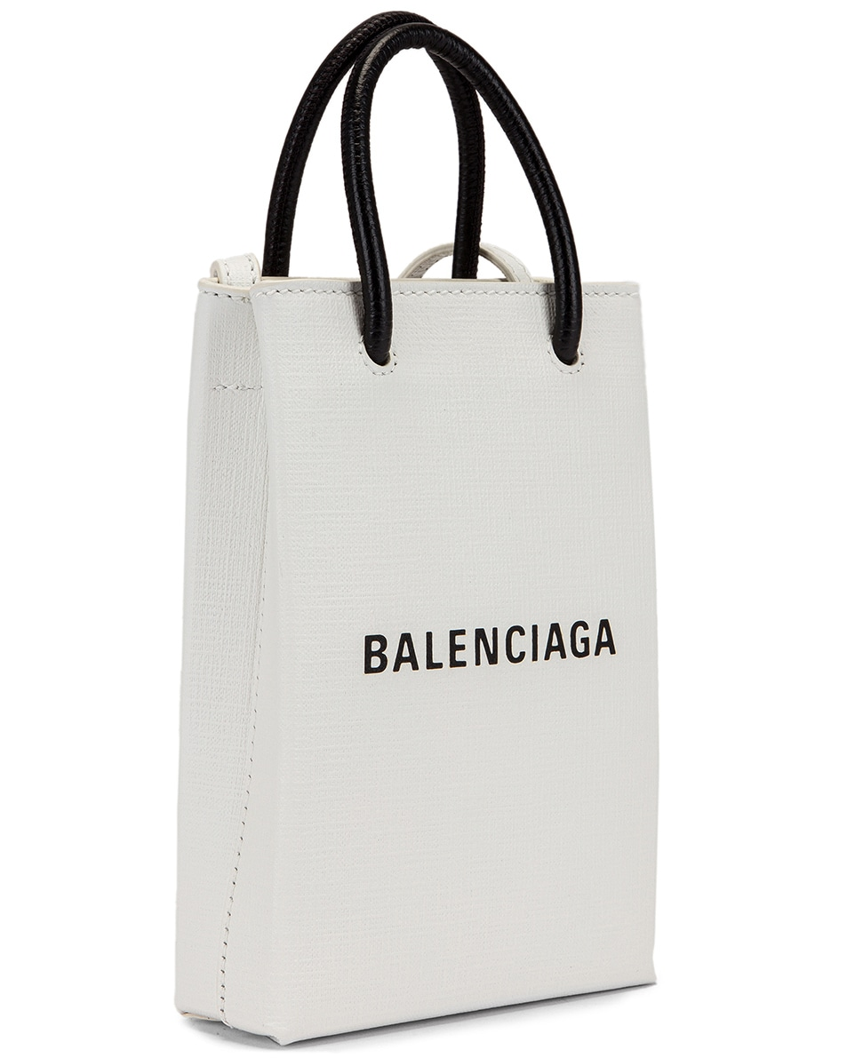 Image 4 of Balenciaga Shopping Phone on Strap Bag in White