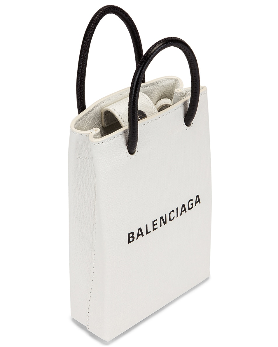 Image 5 of Balenciaga Shopping Phone on Strap Bag in White