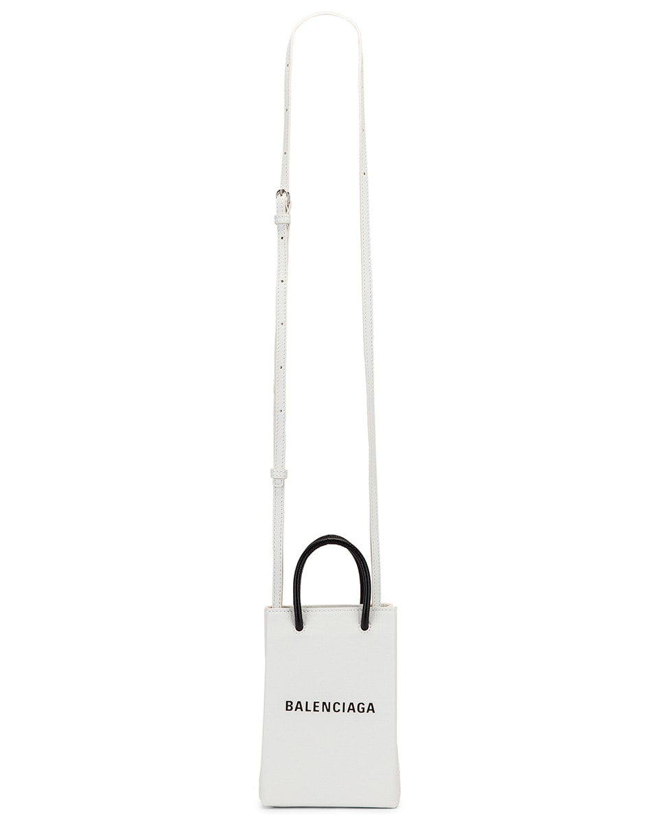Image 6 of Balenciaga Shopping Phone on Strap Bag in White