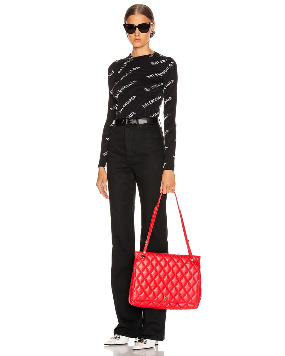 Image 2 of Balenciaga Large B Shoulder Bag in Bright Red