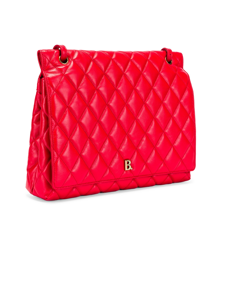 Image 4 of Balenciaga Large B Shoulder Bag in Bright Red