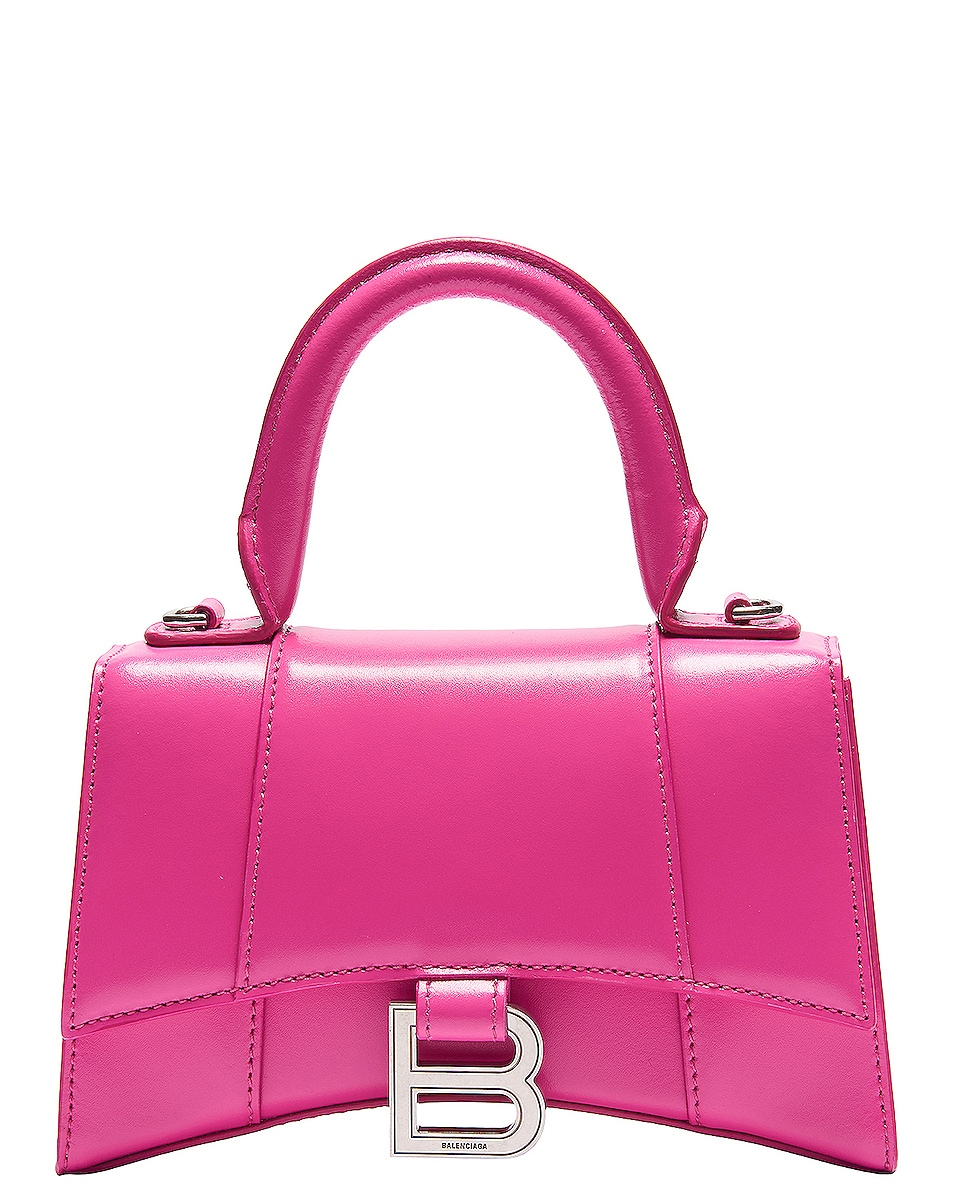 Image 1 of Balenciaga XS Hourglass Top Handle Bag in Acid Fuchsia