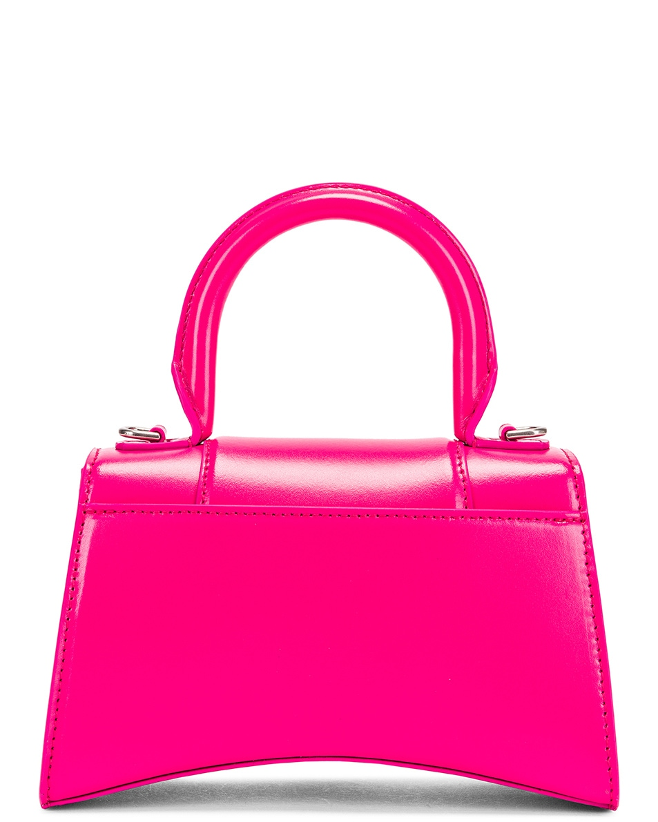 Image 3 of Balenciaga XS Hourglass Top Handle Bag in Acid Fuchsia