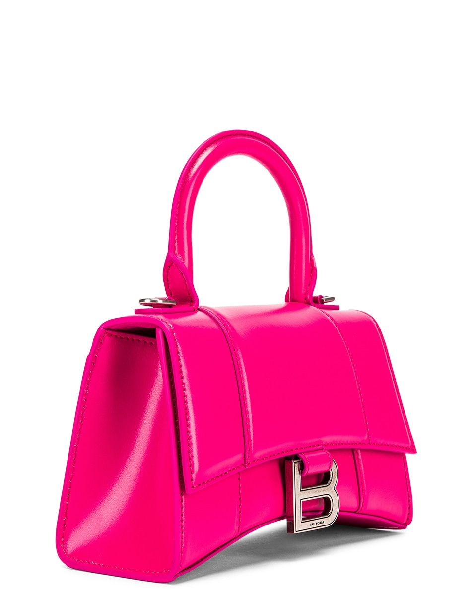 Image 4 of Balenciaga XS Hourglass Top Handle Bag in Acid Fuchsia