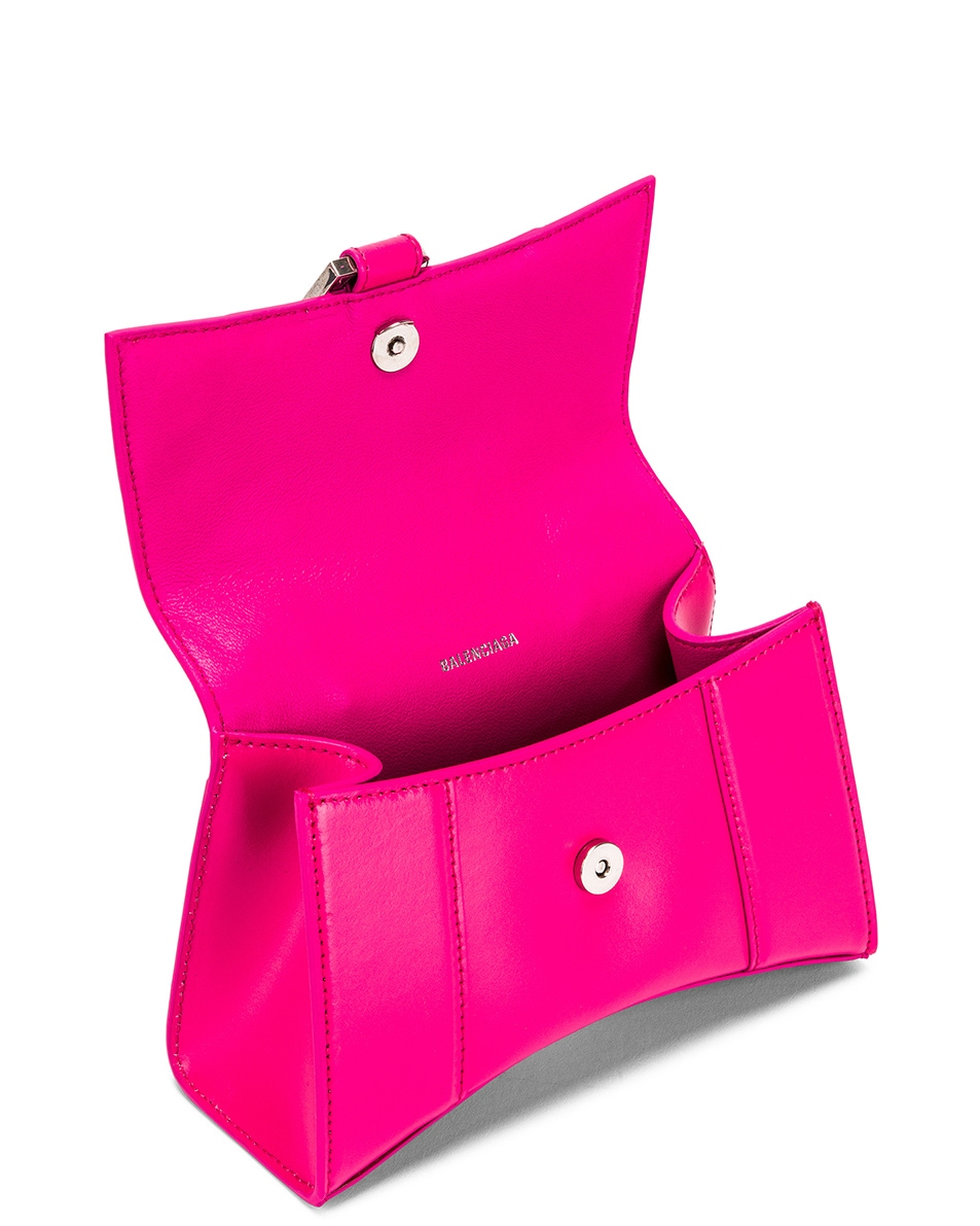 Image 5 of Balenciaga XS Hourglass Top Handle Bag in Acid Fuchsia