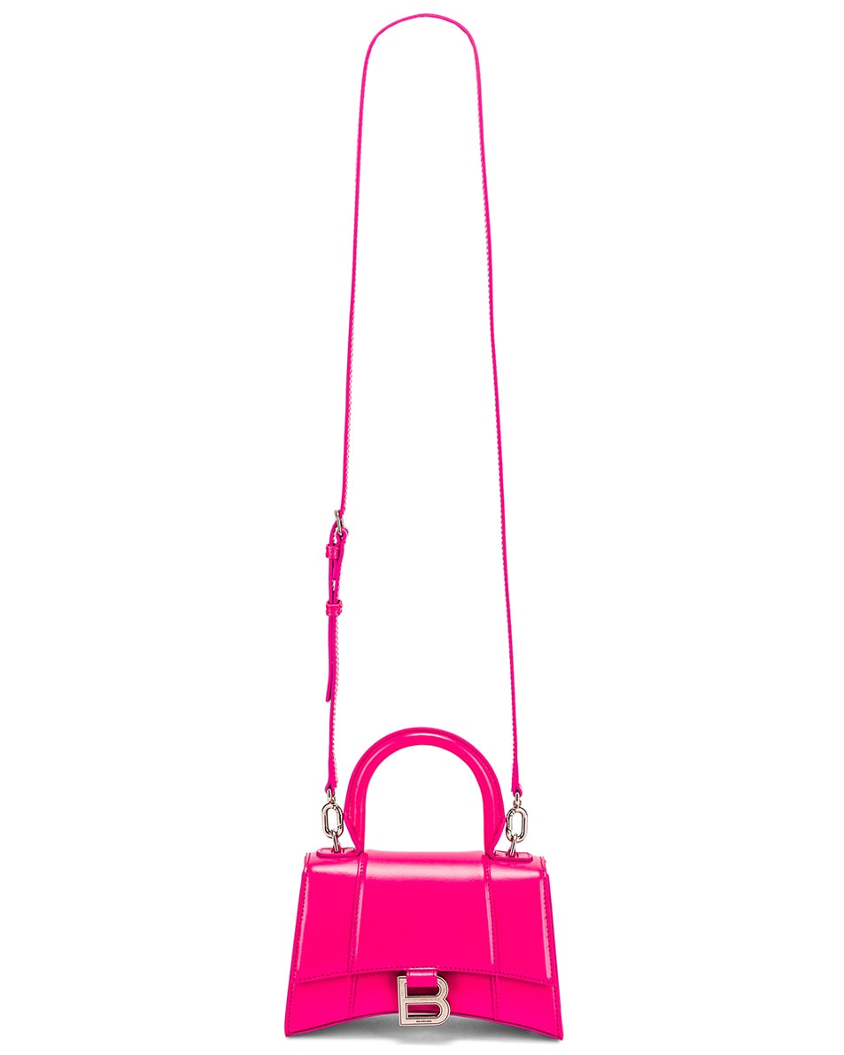 Image 6 of Balenciaga XS Hourglass Top Handle Bag in Acid Fuchsia
