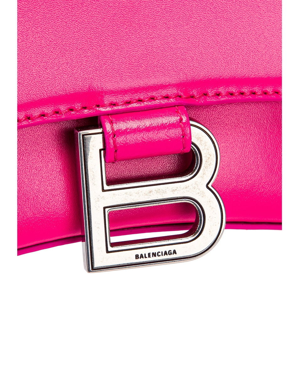 Image 8 of Balenciaga XS Hourglass Top Handle Bag in Acid Fuchsia