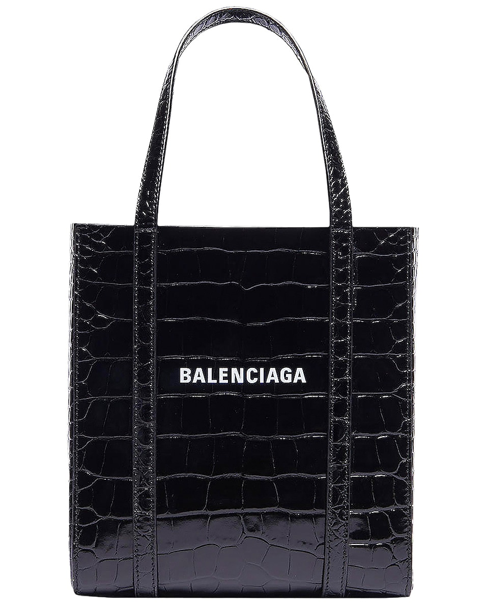 Image 1 of Balenciaga XXS Embossed Croc Everyday Tote Bag in Black