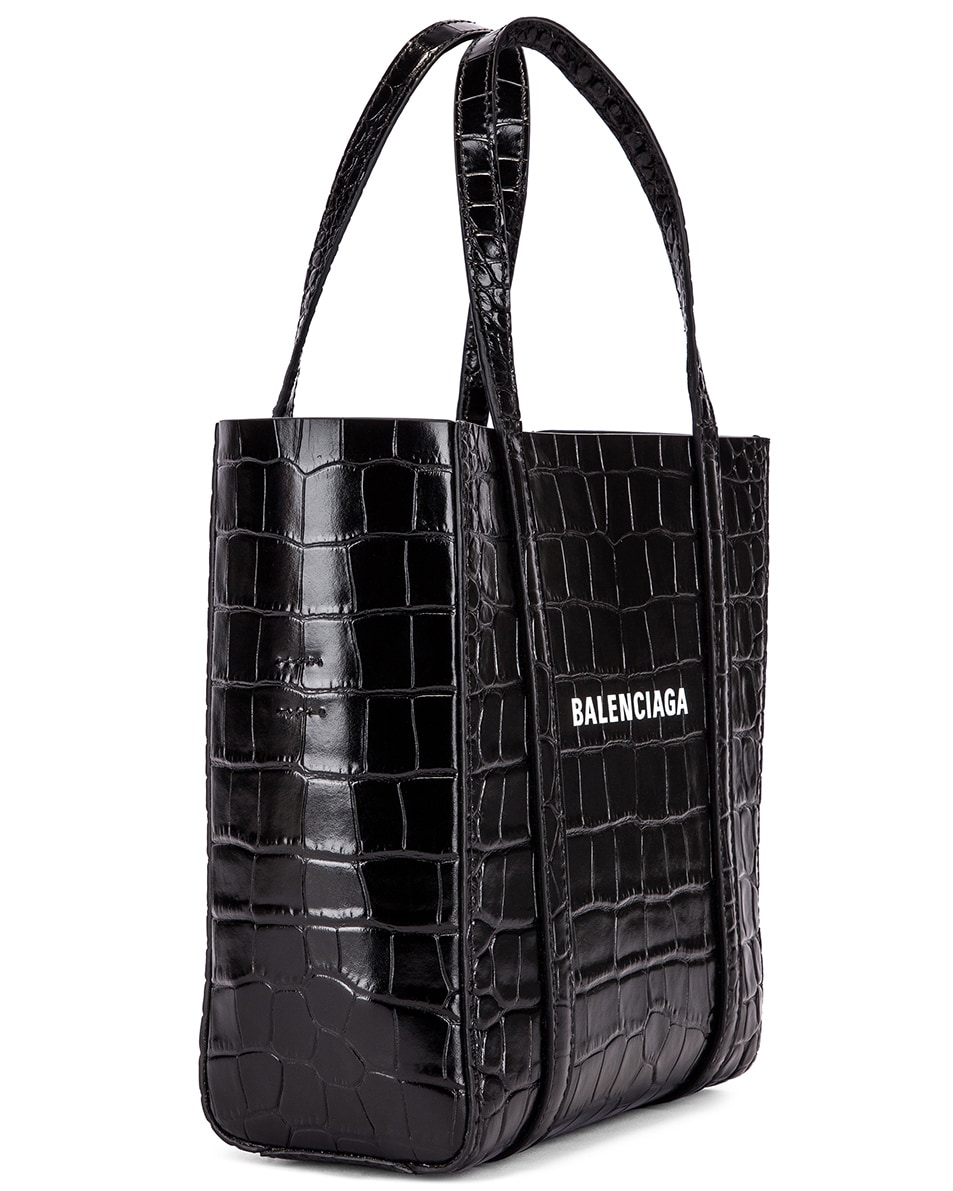 Image 4 of Balenciaga XXS Embossed Croc Everyday Tote Bag in Black