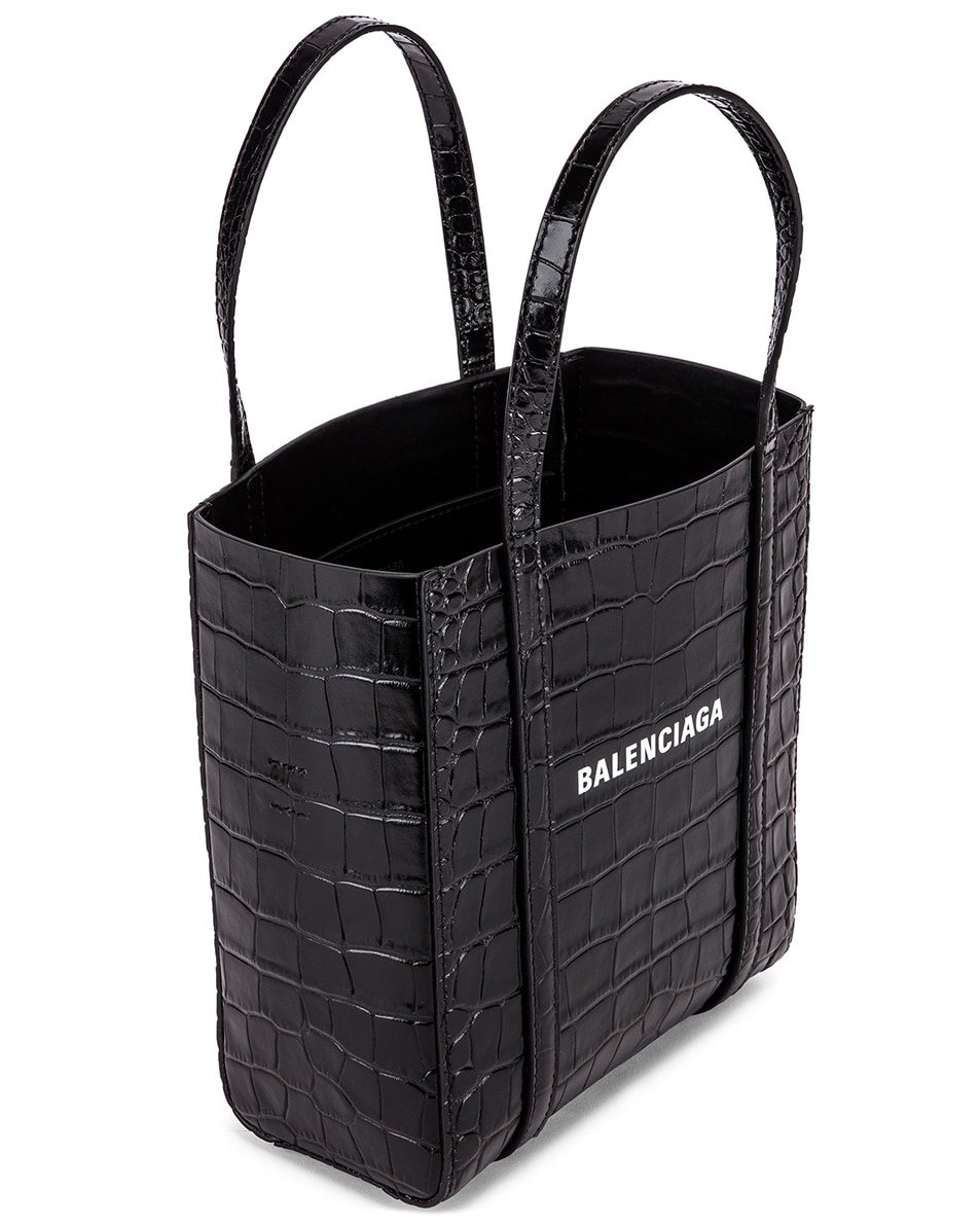 Image 5 of Balenciaga XXS Embossed Croc Everyday Tote Bag in Black