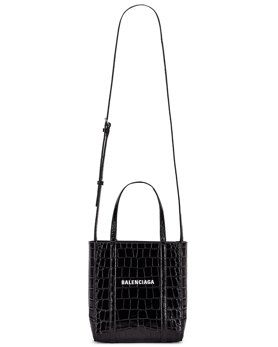 Image 6 of Balenciaga XXS Embossed Croc Everyday Tote Bag in Black