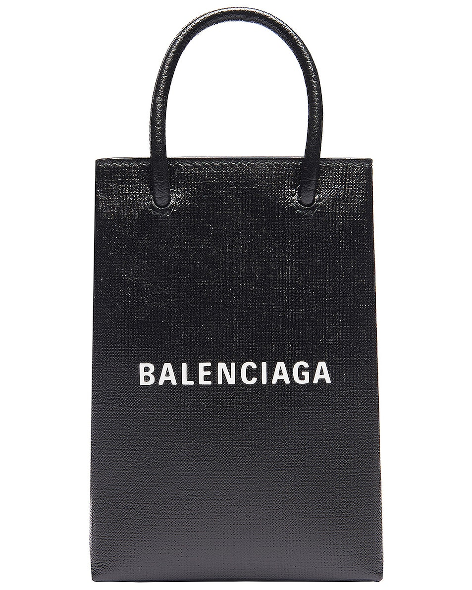 Image 1 of Balenciaga Shopping Phone on Strap Bag in Black