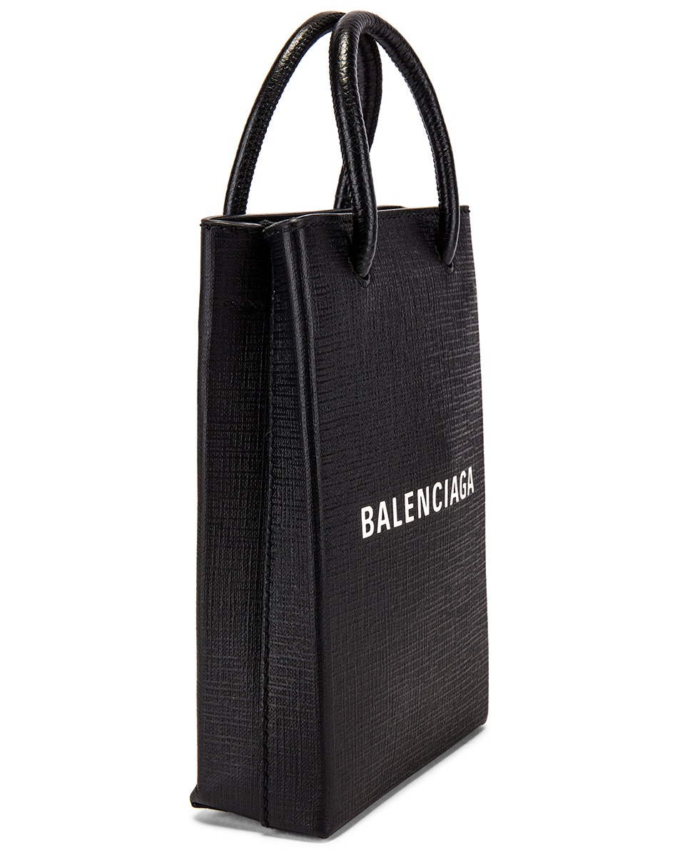 Image 4 of Balenciaga Shopping Phone on Strap Bag in Black