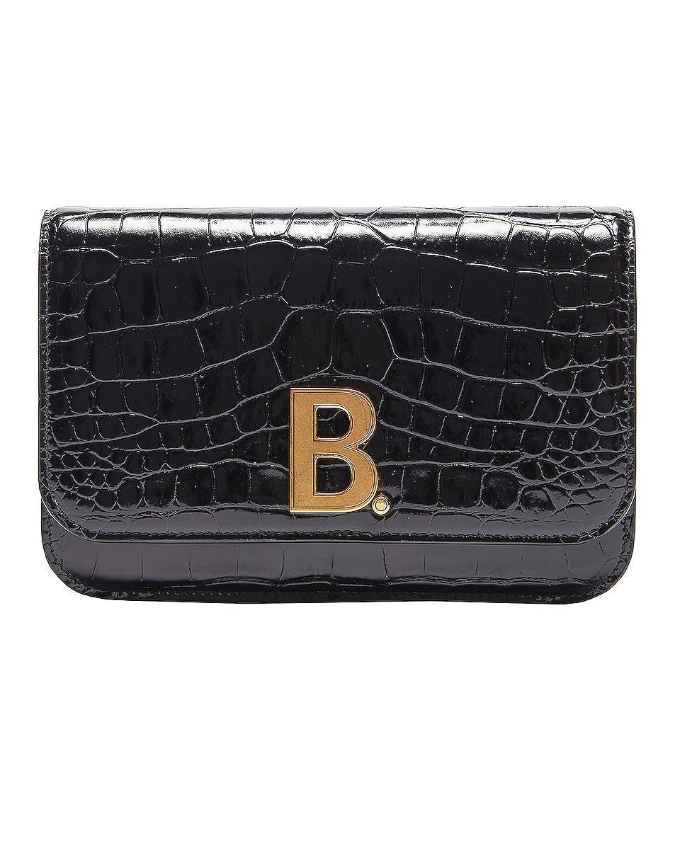 Image 1 of Balenciaga B Embossed Croc Continental Chain Bag in Black