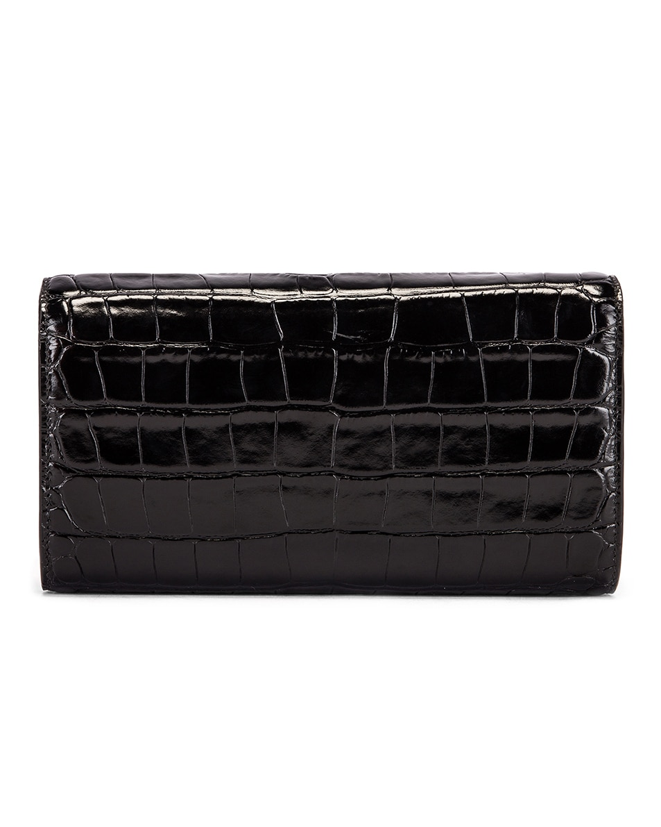Image 3 of Balenciaga B Embossed Croc Continental Chain Bag in Black