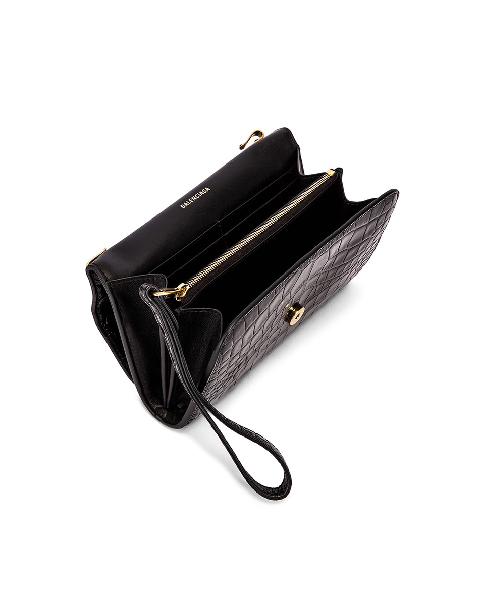 Image 5 of Balenciaga B Embossed Croc Continental Chain Bag in Black