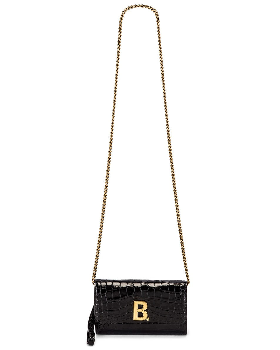 Image 6 of Balenciaga B Embossed Croc Continental Chain Bag in Black