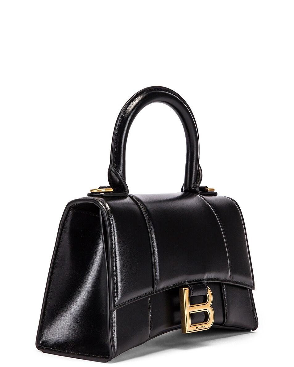 Image 4 of Balenciaga XS Hourglass Top Handle Bag in Black