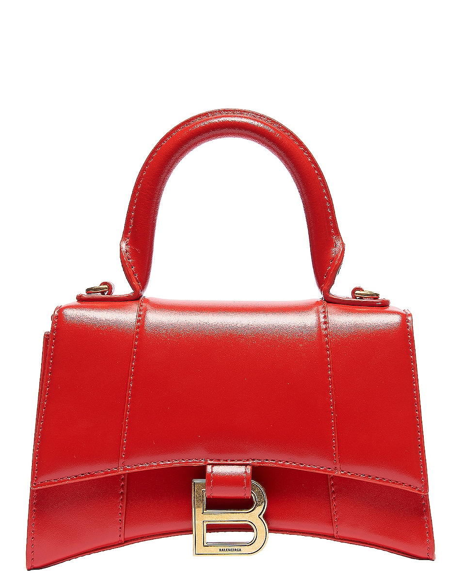 Image 1 of Balenciaga XS Hourglass Top Handle Bag in Bright Red