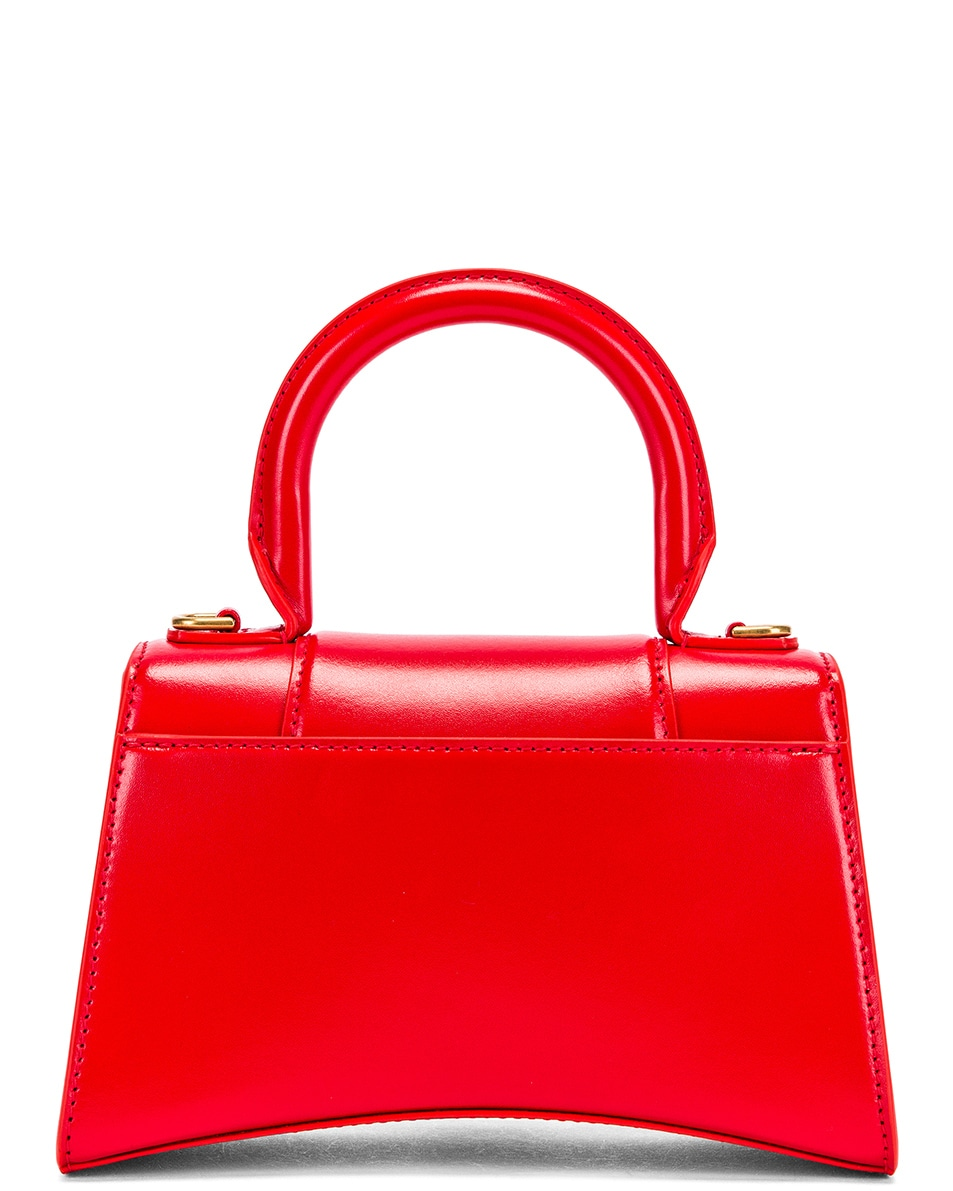 Image 2 of Balenciaga XS Hourglass Top Handle Bag in Bright Red