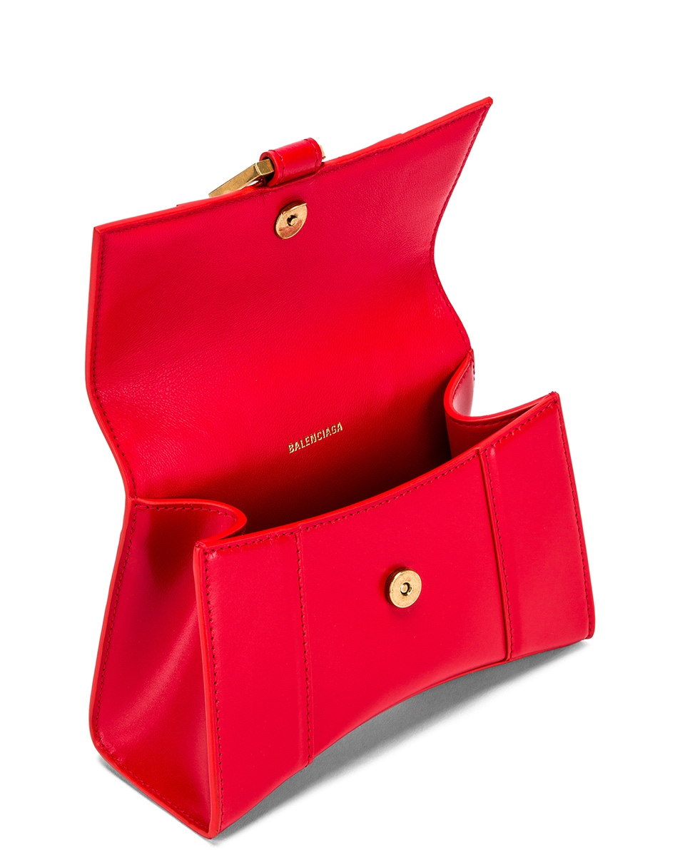 Image 4 of Balenciaga XS Hourglass Top Handle Bag in Bright Red
