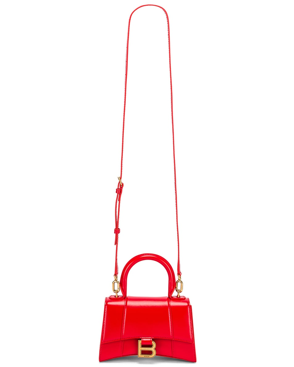 Image 5 of Balenciaga XS Hourglass Top Handle Bag in Bright Red