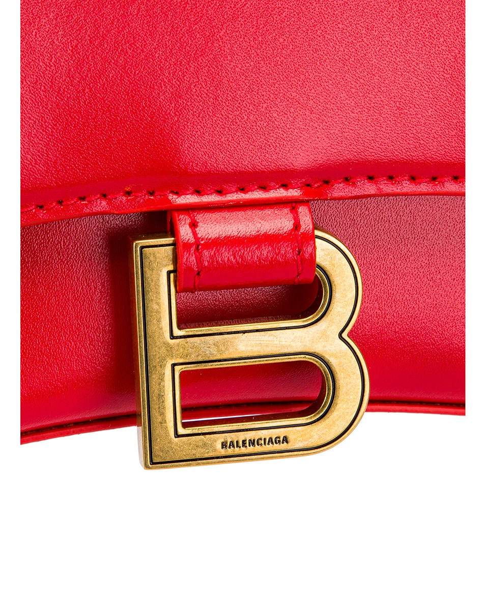 Image 7 of Balenciaga XS Hourglass Top Handle Bag in Bright Red