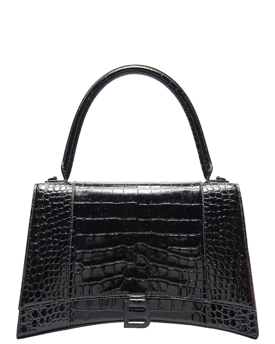 Image 1 of Balenciaga Medium Embossed Croc Hourglass Top Handle Bag in Black