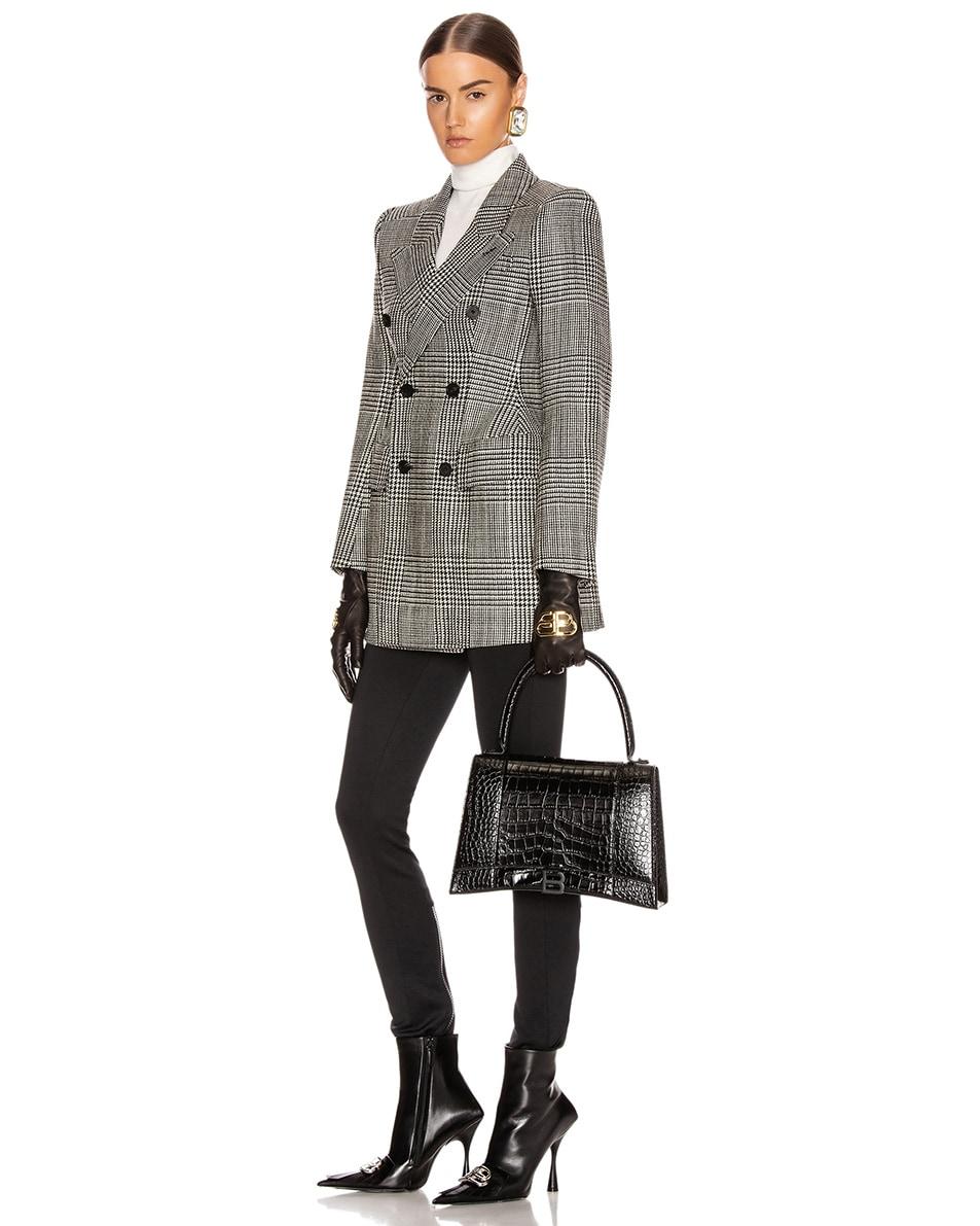 Image 2 of Balenciaga Medium Embossed Croc Hourglass Top Handle Bag in Black