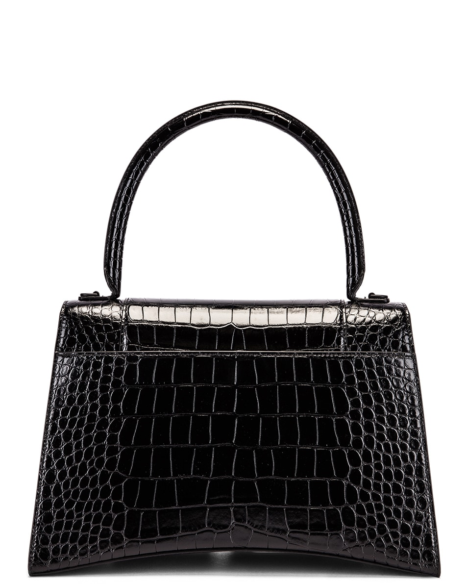 Image 3 of Balenciaga Medium Embossed Croc Hourglass Top Handle Bag in Black