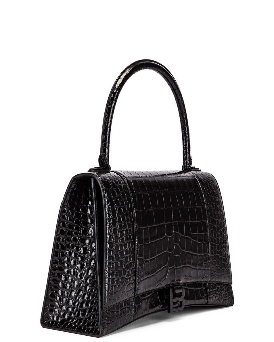 Image 4 of Balenciaga Medium Embossed Croc Hourglass Top Handle Bag in Black