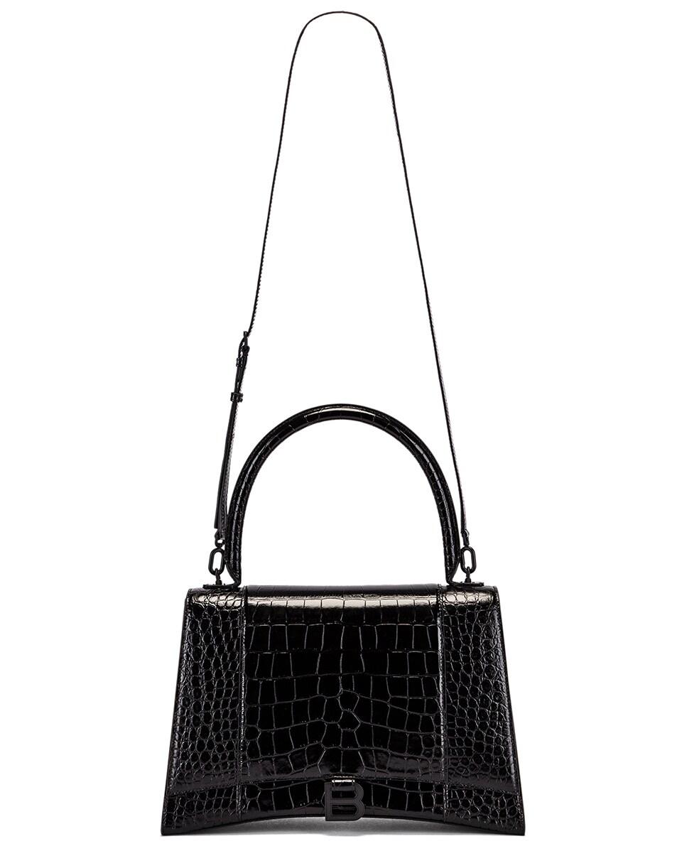 Image 6 of Balenciaga Medium Embossed Croc Hourglass Top Handle Bag in Black