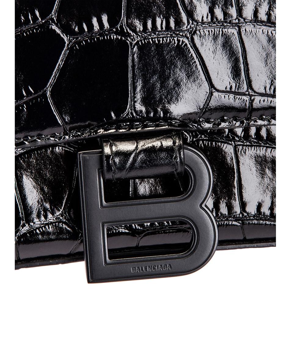 Image 8 of Balenciaga Medium Embossed Croc Hourglass Top Handle Bag in Black