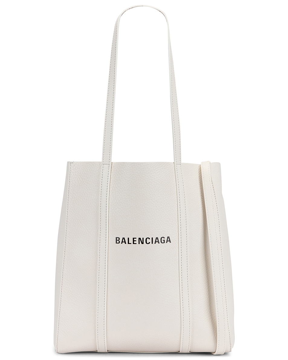 Image 1 of Balenciaga XS Everyday Tote Bag in White & Black