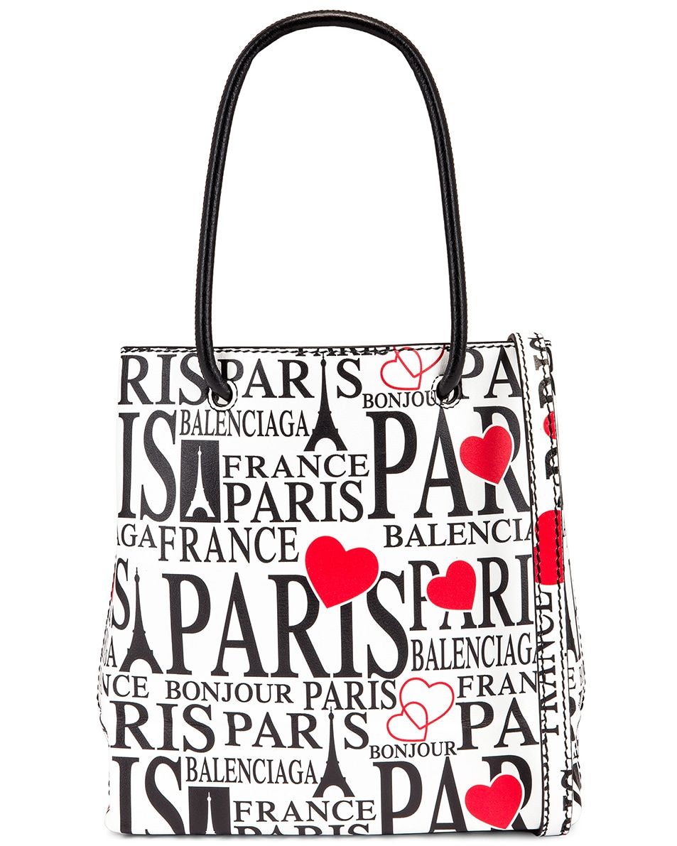 Image 1 of Balenciaga XXS Paris Bonjour Shopping Tote Bag in White & Red