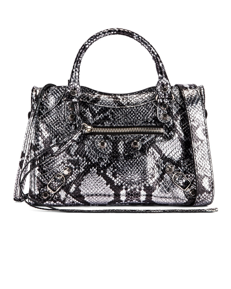 Image 1 of Balenciaga Mini Printed Python City Bag in Silver