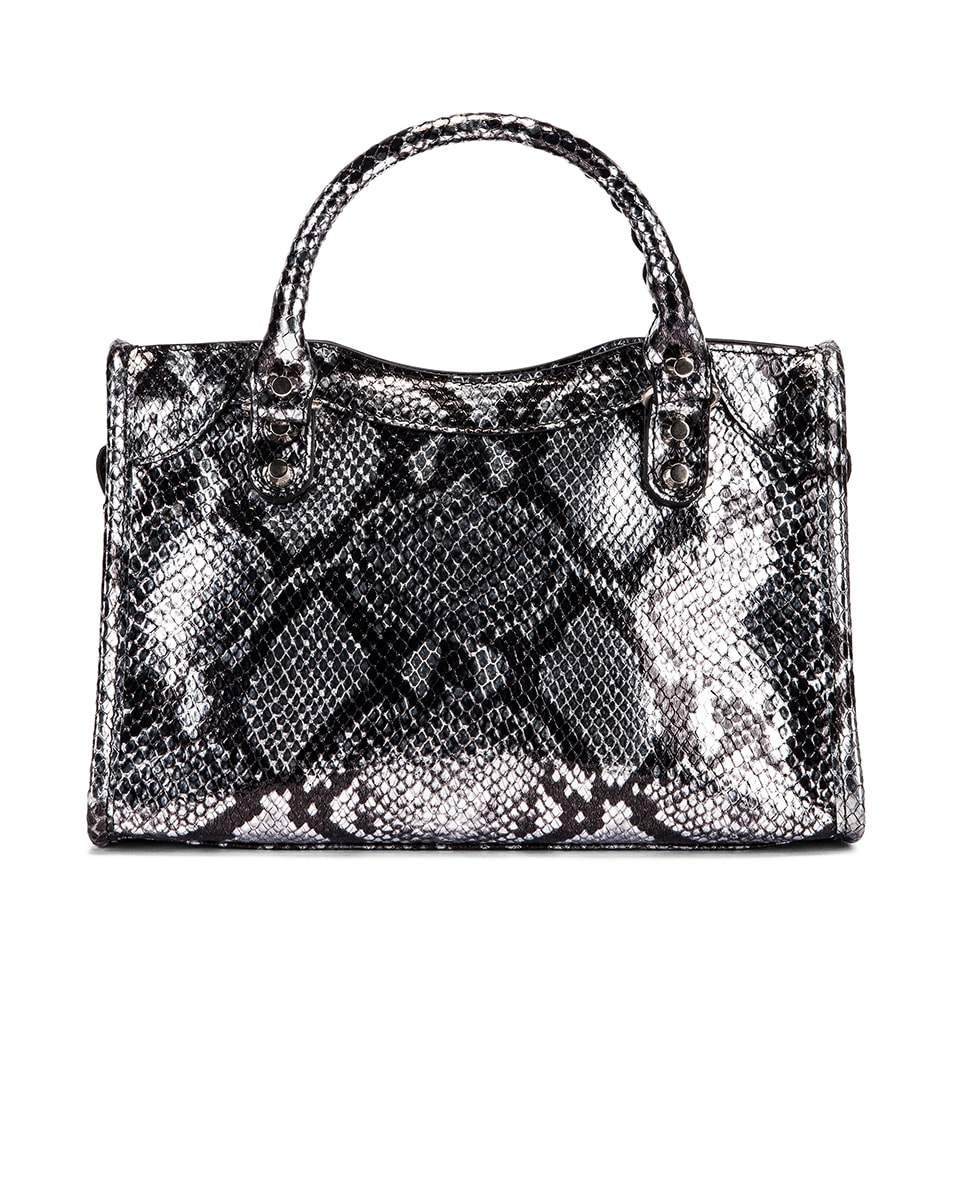 Image 3 of Balenciaga Mini Printed Python City Bag in Silver
