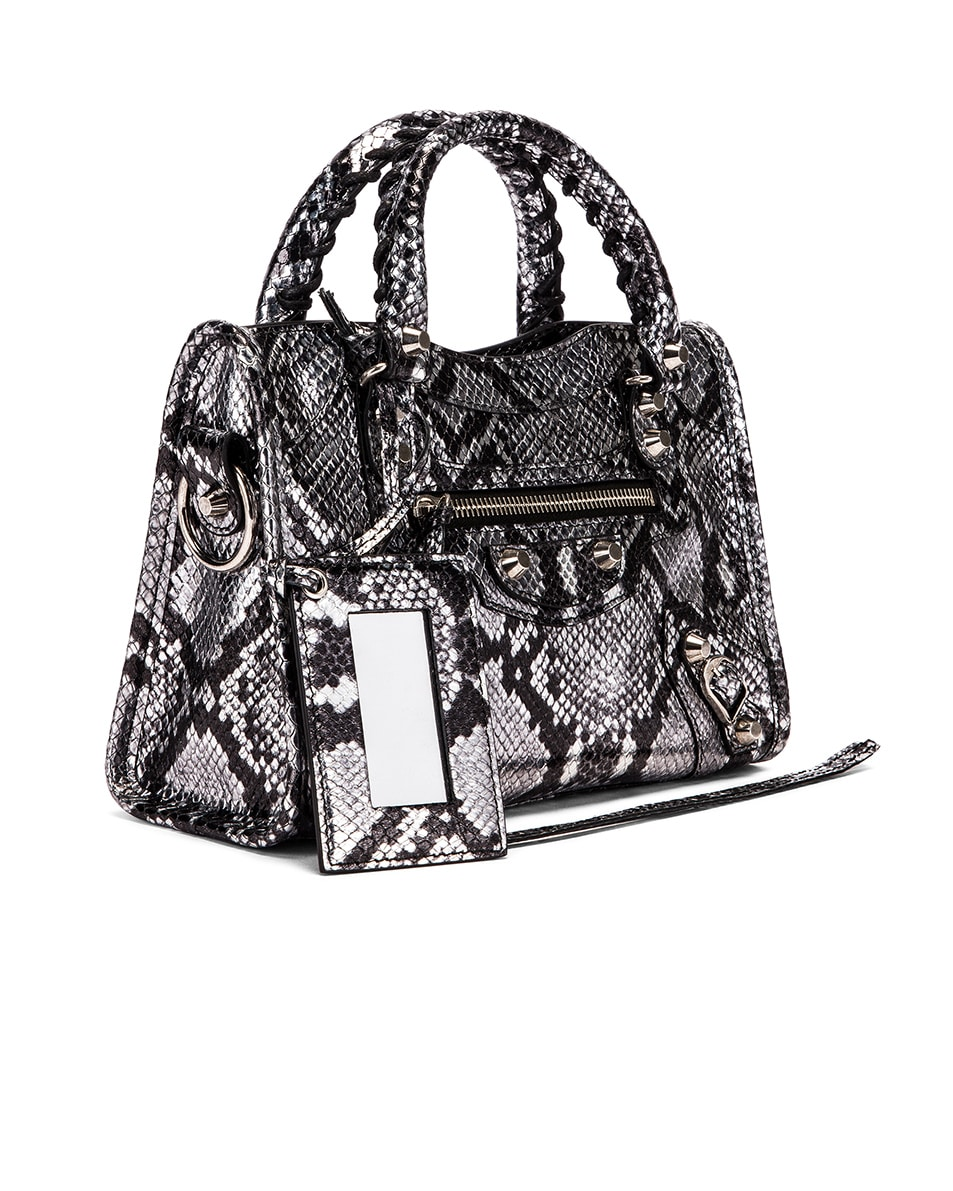 Image 4 of Balenciaga Mini Printed Python City Bag in Silver